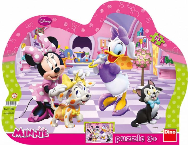 Puzzle Minnie a mazlíčci kontura 35x28cm 25 dílků
