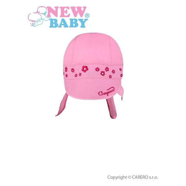 Letní dětská čepička- šátek New Baby Gorgeous vel. 86 RŮŽOVÁ