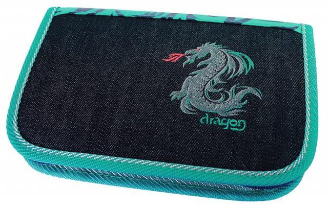 Školní pouzdro 1-klopa prázdné Dragon tyrkys Emipo