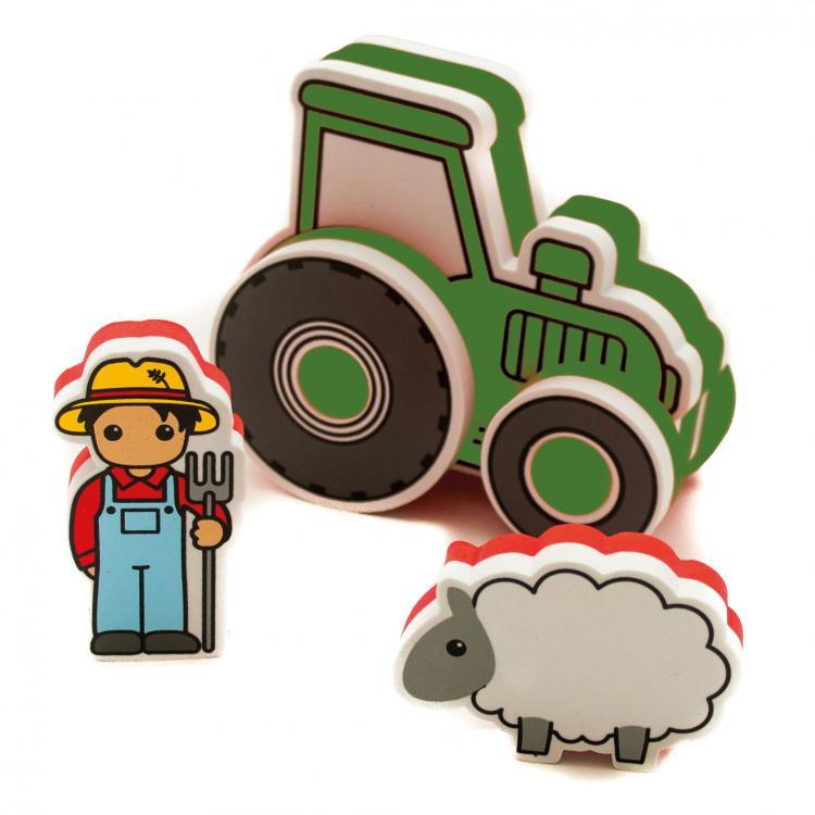 Meadow Pěnová stavebnice do vany Traktor zelený
