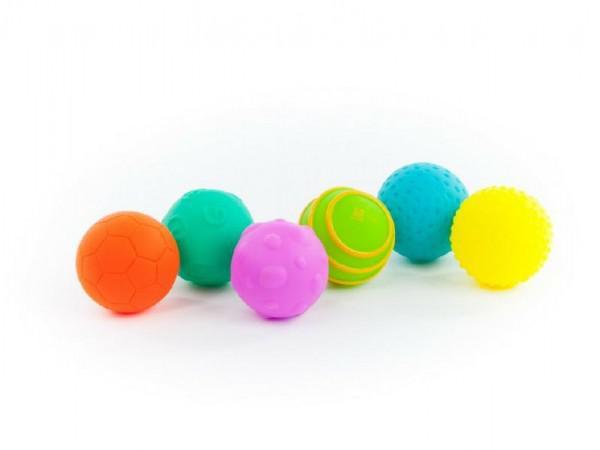 Sada míčků 6ks s texturou gumové 6cm v krabici 6m+ nezobra