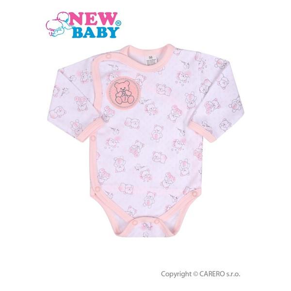 Kojenecké body celorozepínací New Baby Roztomilý medvídek RŮŽOVÉ vel.56