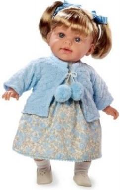 Panenka vonící 42cm modré šaty smějící se měkké tělo na baterie