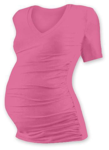 8e7484b1517a Těhotenské tričko kr. rukáv s výstřihem do V - růžové