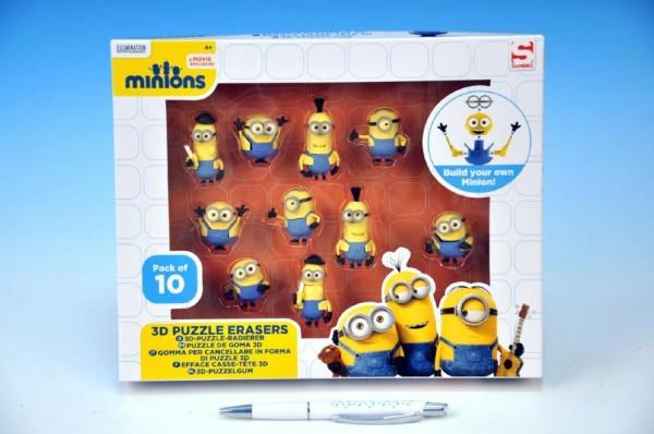 Puzzle 3D Mimoni 10ks gumové postavičky
