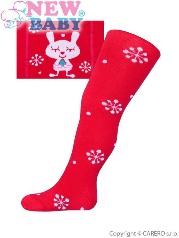 Vánoční bavlněné punčocháčky New Baby červené s vločkami a kočičkou vel. 68 - 74