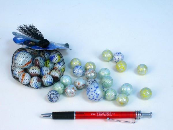 Kuličky cvrnkací skleněné perleťové 1,6cm 130g 20+1ks v síťce