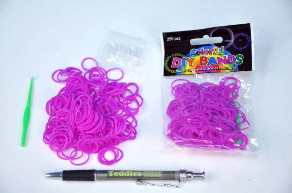 Udělej si svůj náramek - gumičky 250ks fialové s doplňky