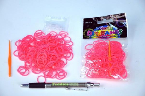 Udělej si svůj náramek - gumičky 250ks růžové s doplňky