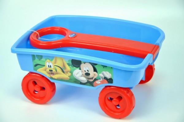 Vozík/Vlečka Mickey plast 35cm s rukojetí nezobra