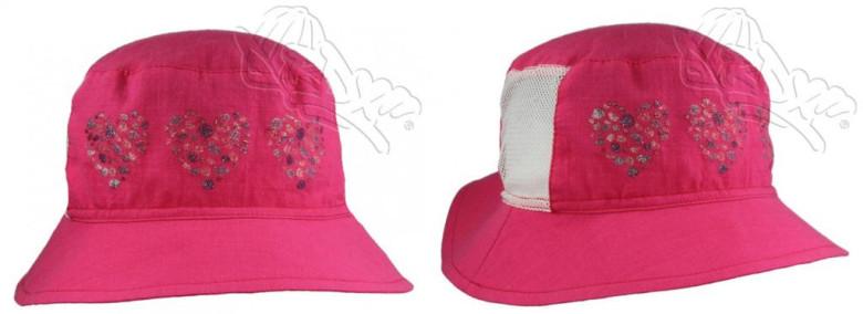 54fb2371d2b Letní klobouček srdíčka se síťkou malinový RDX