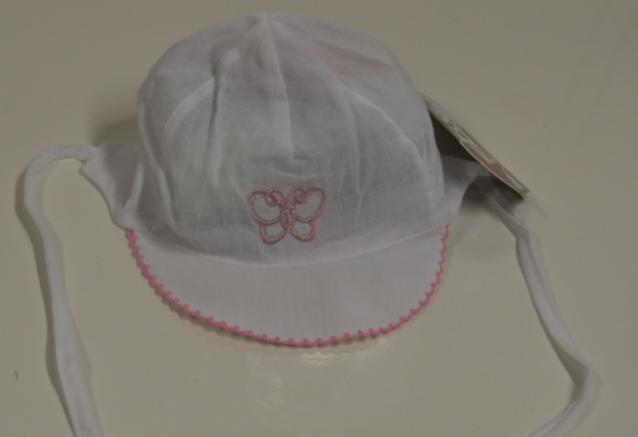 Kšiltovka kojenecká zavazovací vel. 40 - BÍLO-RŮŽOVÁ