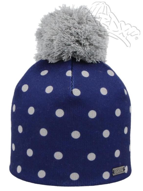 Zimní dívčí čepice s puntíky a bambulí modrá RDX  d0438f2698