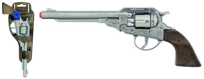 Revolver kovbojský stříbrný, kovový - 8 ran