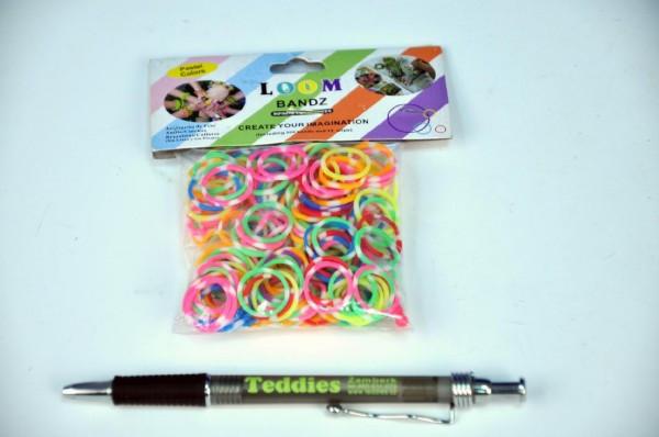 Udělej si svůj náramek - gumičky 300ks duhové dvoubarevné s tečkami + náčiní nezobra