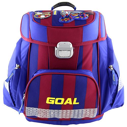 Target Školní aktovka Goal - 3D nášivka kopačky a fotbalového míče - modro-červená