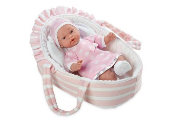 Panenka/miminko vonící měkké tělo 28cm růžové v tašce na baterie