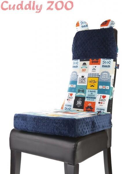 Set na židli opěrka a polštář Cuddly Zoo - Táta tmavě modrý