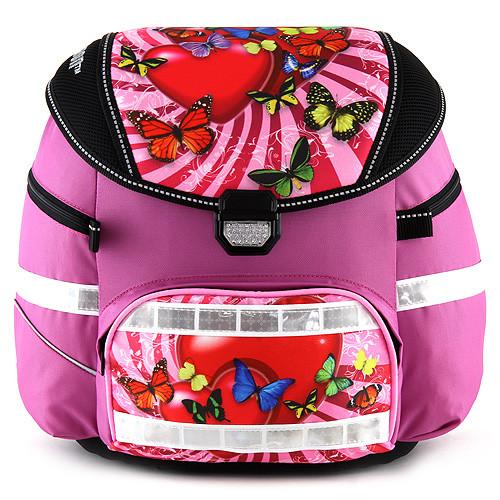 Školní batoh se svítícím elementem Leasyn - Srdíčko a motýlci - Smart Strap