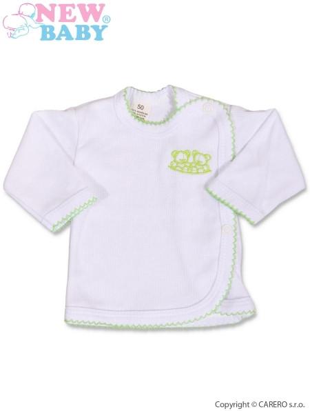 Kojenecká košilka zavinovací vel. 62 Bílá se zelenou výšivkou New Baby