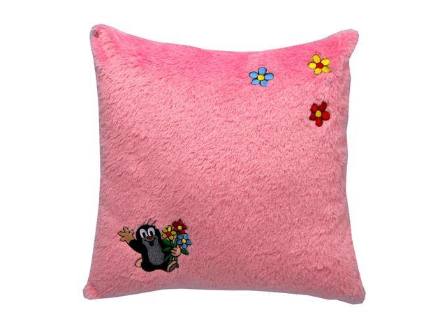 Krtek polštář s výšivkou růžový