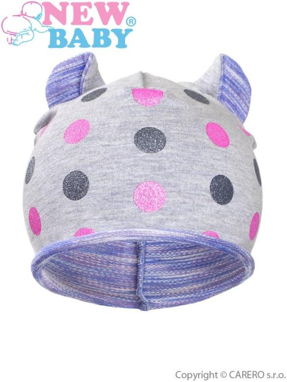 Podzimní dětská čepička New Baby puntíky šedo-fialová vel. 110