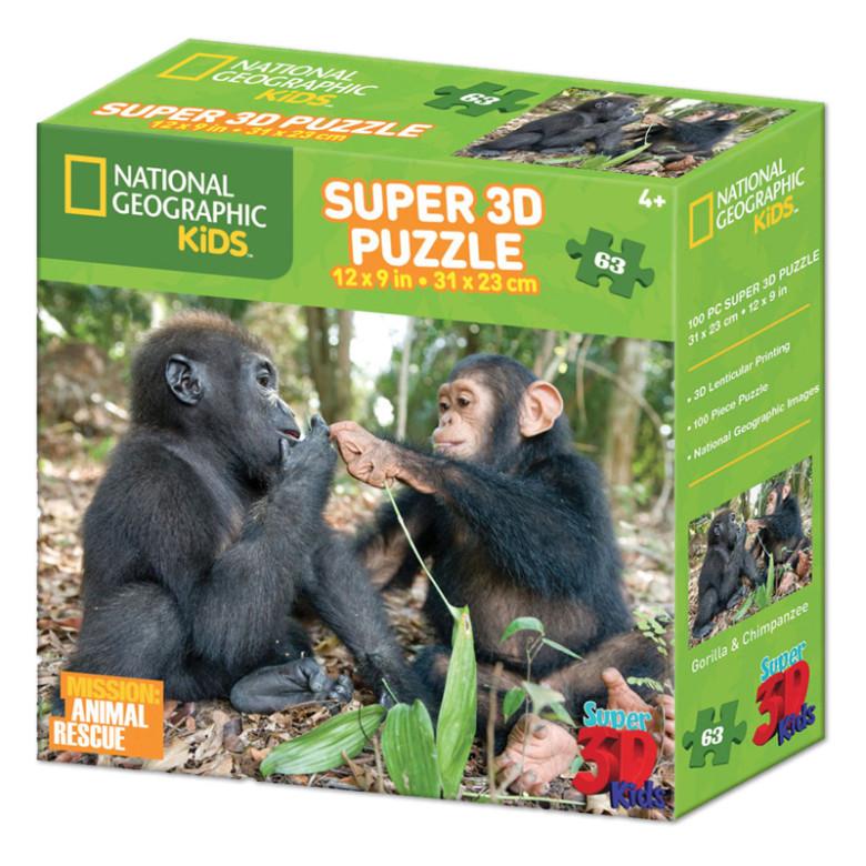 Puzzle Opice 63 dílků 3D