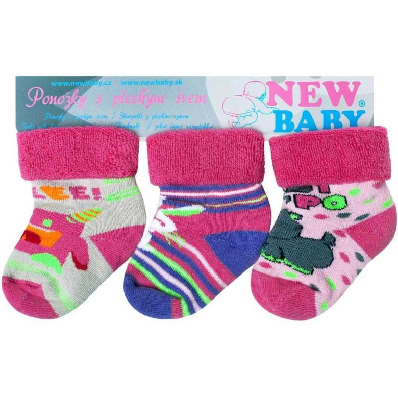 Kojenecké froté ponožky New Baby barevné - 3ks vel. 74 (9 - 10 cm ... 8822ded6b8