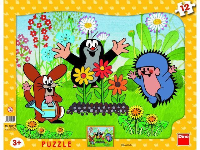 Puzzle deskové Krteček zahradník 12 dílků