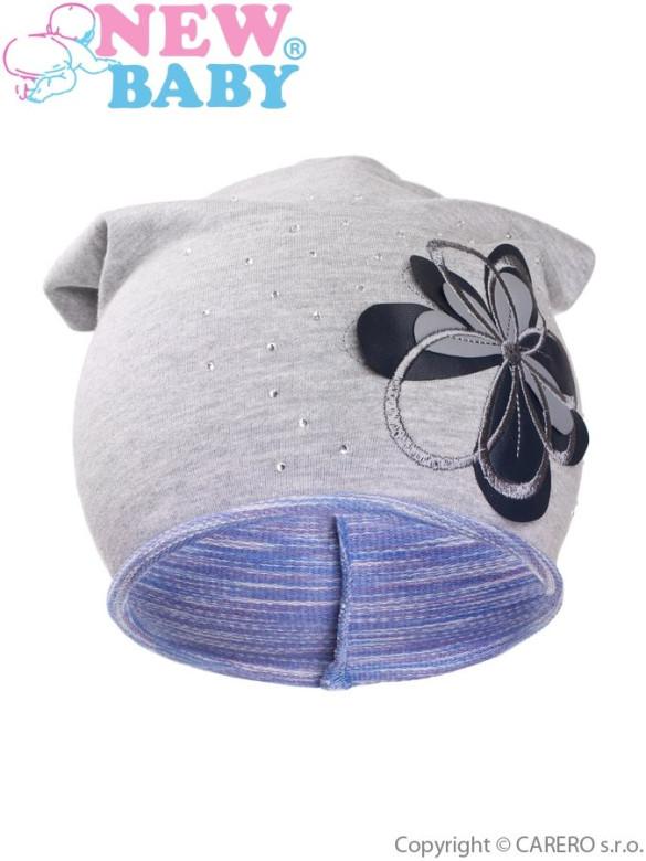 Podzimní dětská čepička New Baby Květinka fialová vel. 110