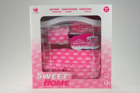 Moderní postel na baterie pro Barbie a podobné panenky