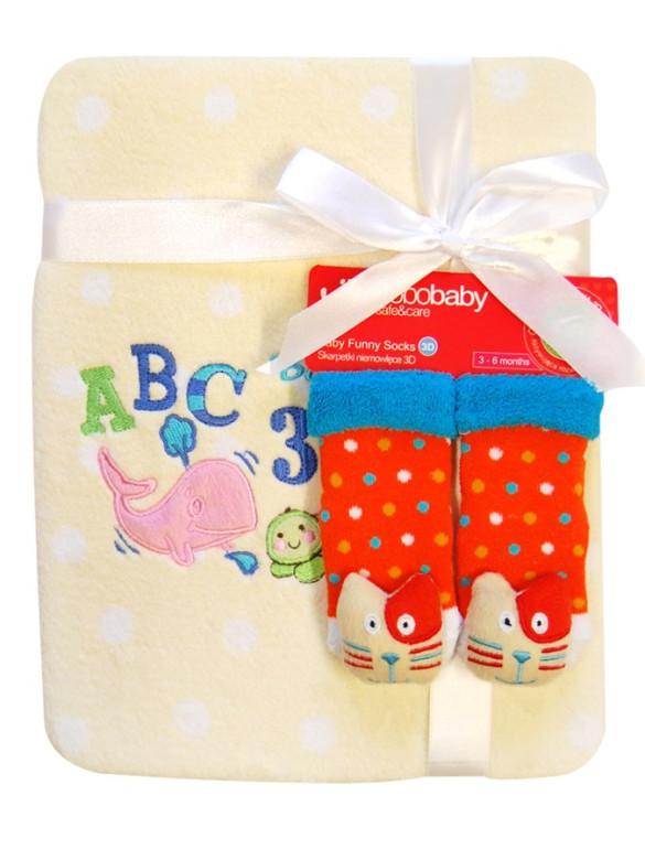 Dětská deka z mikrovlákna s ponožkami Bobo Baby béžová