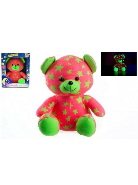 Medvídek svítící ve tmě 21 cm růžový/zelený plyš