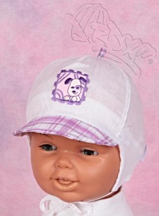 Kšiltovka kojenecká vázací s kšiltem vel. 40 - BÍLO-FIALOVÝ