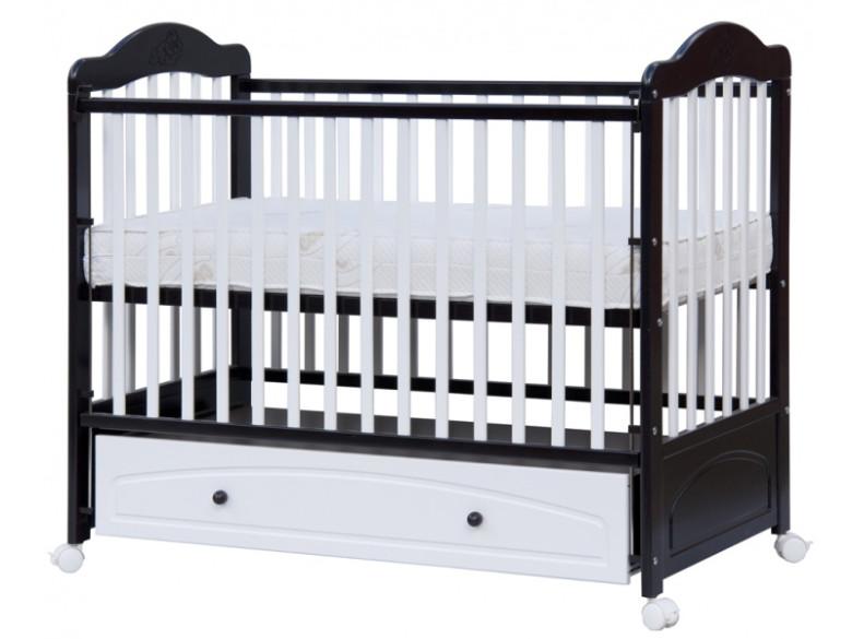 Dětská postýlka - Scarlett (buk) - wenge-bílá - 120 x 60 cm