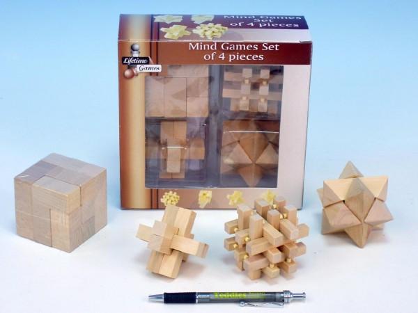 Hlavolam dřevěný 4 ks v krabici