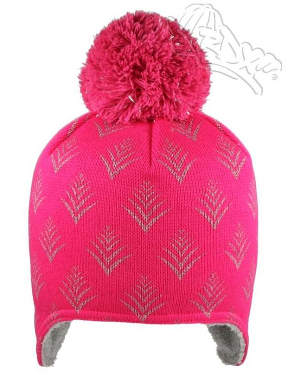 199978fafa9 Zimní čepice na uši s bambulkou stromeček růžová RDX