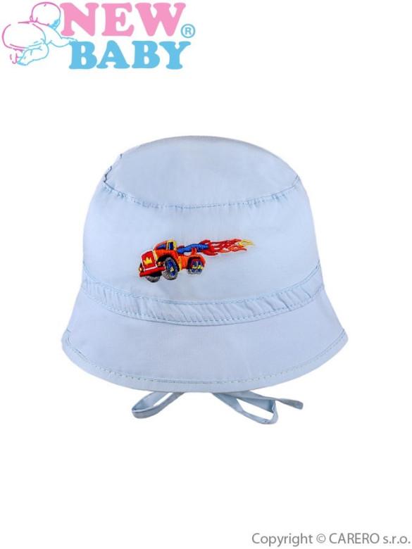 Letní dětský klobouček New Baby Truck vel. 80 SVĚTLE MODRÝ
