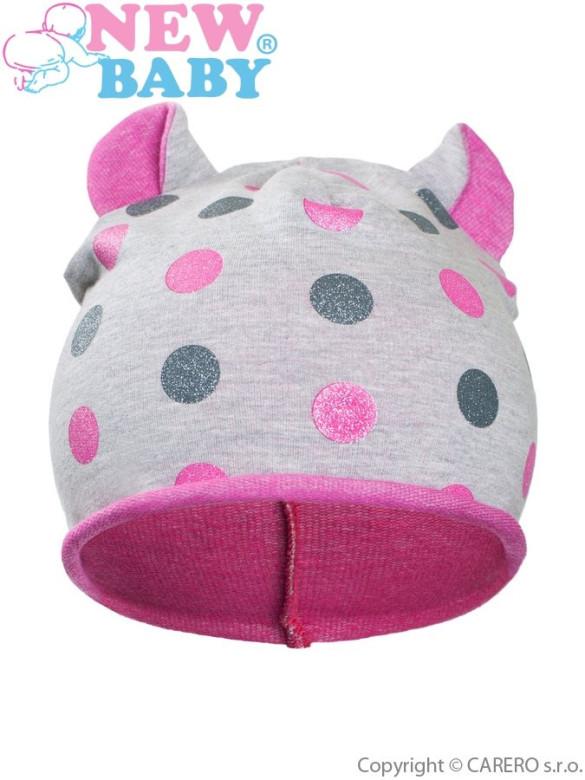 Podzimní dětská čepička New Baby puntíky šedo-růžová vel. 110