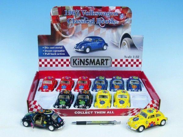 Auto Kinsmart VW Beetle hippies 13 cm kov