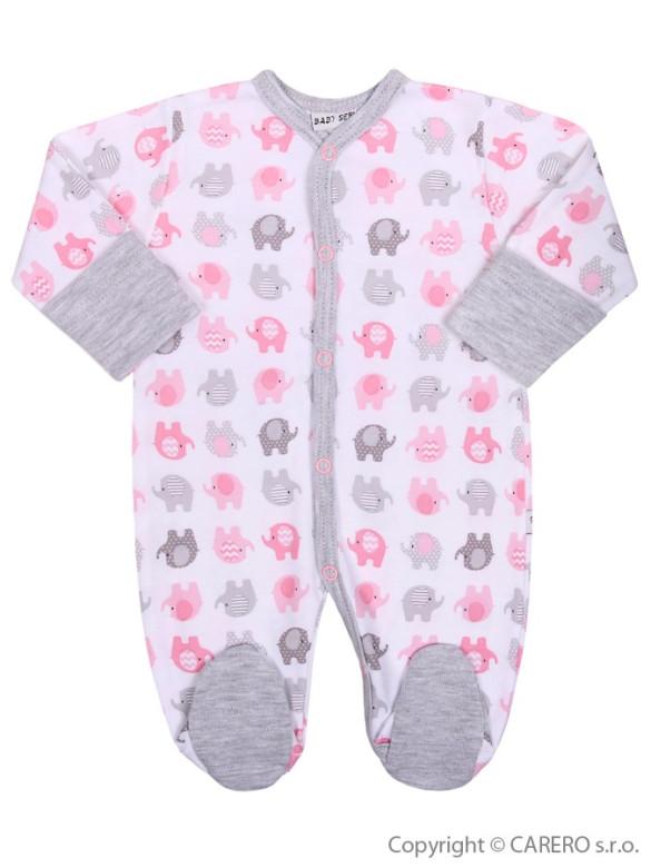 Kojenecký overal Baby Service Sloníci bílo-růžový vel. 68