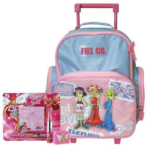 Školní batoh Cool trolley set - 4-dílná sada - modro-růžový + doplňky Winx II.