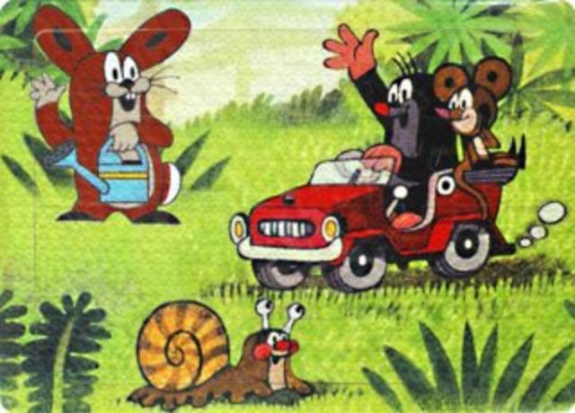 Pěnové puzzle Krtek s myškou v autíčku 24dílků