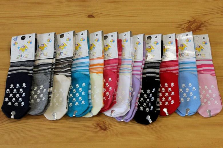 Kojenecké ponožky s protiskluzem proužkované vel. 3 (23-25)