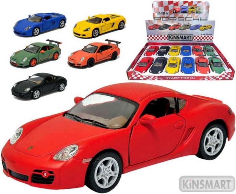 Auto Kinsmart Porsche kov matný lak 12cm na zpětné natažení