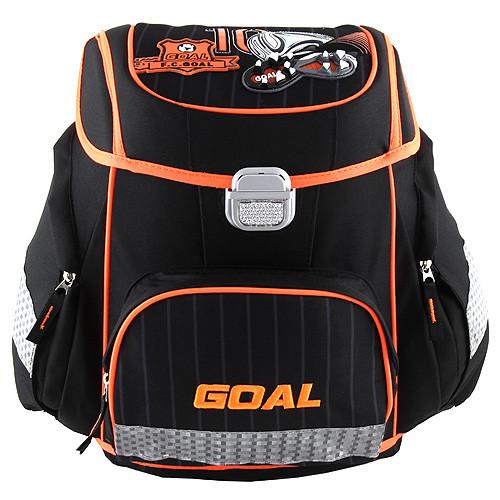 Školní aktovka Goal - 3D nášivka kopačky a fotbalového míče - černo-oranžová
