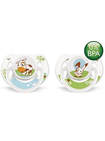 Šidítko Avent Zvířátka 6-18 m bez BPA 2 ks kravička + zajíček
