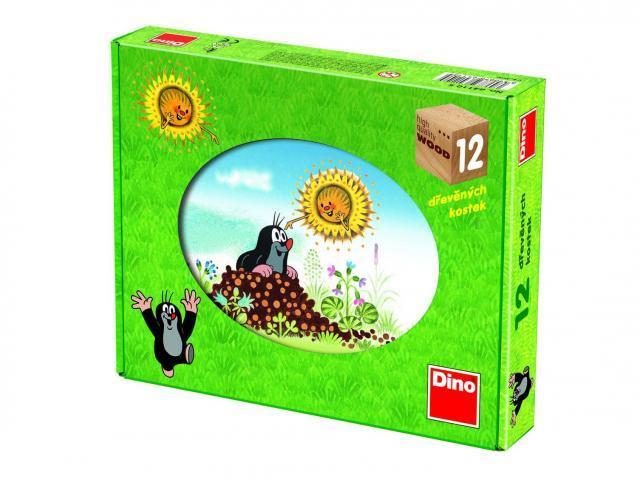 Krtkův rok - Dřevěné kostky - kubus 12 ks Dino