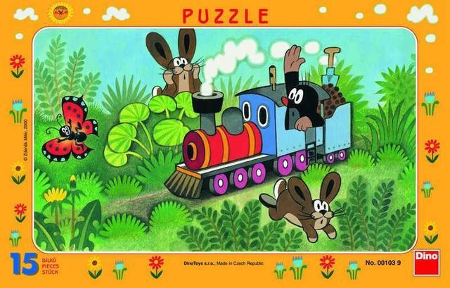 Puzzle deskové Krteček a lokomotiva 15 dílků