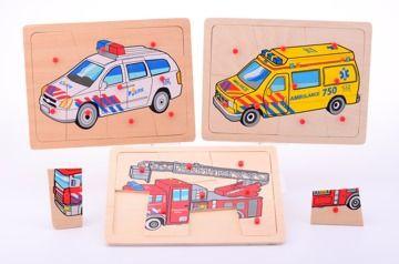 Puzzle dřevěné záchranářská auta